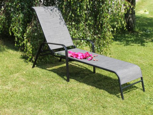Steel and textile sun lounger